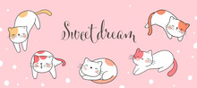 Draw Banner Cat Sleeping With ...
