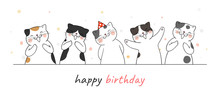 Draw Banner Cute Cat Clapping Hand And Singing For Birthday.