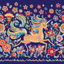 Floral Seamless Border Pattern In Folklore Tapestry Tradition, Unicorn Print On A Dark Indigo Blue Background. Fantasy Rose Flowers, Leaves, Fairy Tale Ornate Cute Horse.Scarf, Shawl, Wallpaper Fringe