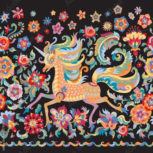 Floral seamless border in folklore tapestry tradition, unicorn print on black background Fototapeta