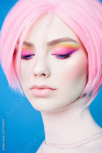 Fotobehang womenART Art fashion studio portrait of beautiful redhead woman with modern makeup.