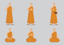 Monks In Standing And Sitting Positions Vector Character Illustration