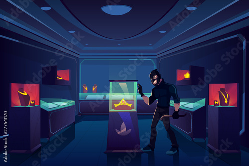 Valokuva Robbery of jewelry shop, robber or thief with nail puller stand in dark trading room with gold jewellery prepare to break glass showcase with precious gem stones diadem