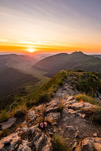 Sunset, Star And Sunrise Over Puy Mary And Cantalien Massif