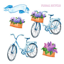 Watercolor Pastel Blue Vintage Bicycle Set. Hand Drawn Beach Cruiser With Basket And Purple Lilac And Hydrangea Flowers, Isolated On White Background. Summer Bike Ride, Provence Style.