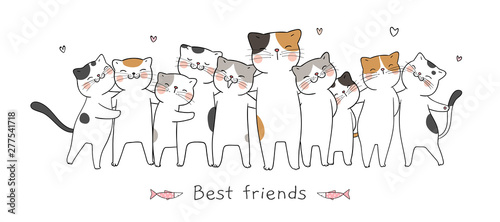 Draw banner cat hug with love and word best friends.
