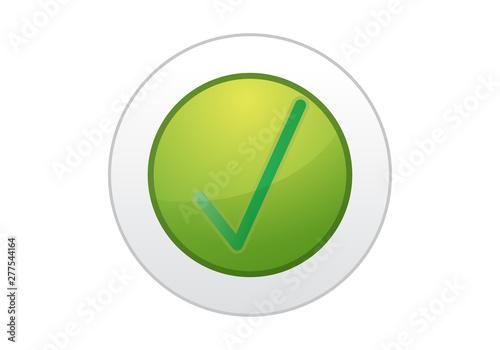 Botón verde con tic de afirmación. Canvas Print