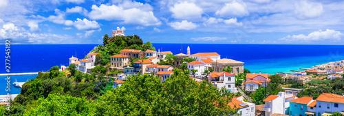 Samos island, Scenic view of Karlovasi coastal town