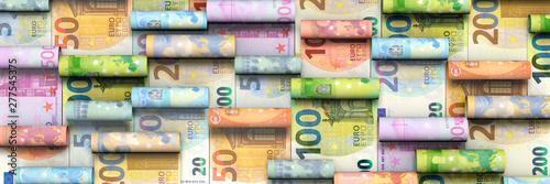 Fotografía Hintergrund aus aufgerollten Euroscheinen