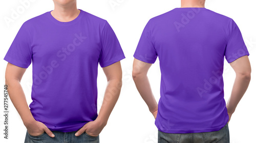 Obraz close up purple t-shirt cotton man pattern isolated on white. - fototapety do salonu