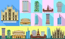 Milan Icons Set. Flat Set Of Milan Vector Icons For Web Design
