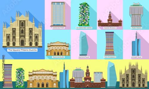 Fototapeta premium Zestaw ikon Mediolan. Płaski zestaw ikon wektorowych milan do projektowania stron internetowych