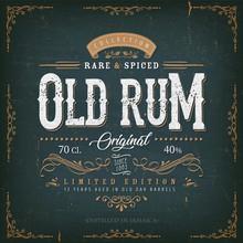 Vintage Old Rum Label For Bott...
