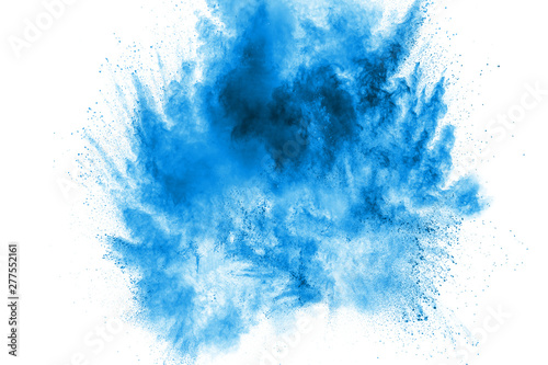 Bizarre forms of blue powder explode cloud on white background. Launched blue dust particles splashing. - 277552161