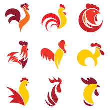 Rooster Logo Set. Flat Set Of ...