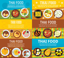 Modern Thai Food Banner Set. Flat Illustration Of Modern Thai Food Vector Banner Set For Web Design