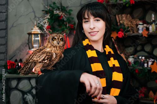 Obraz na plátně Sorceress with an owl