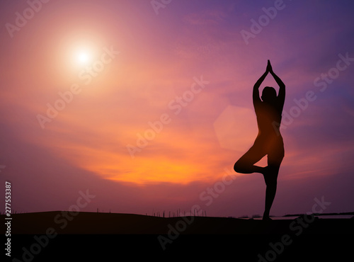 Stickers pour porte Fleur The silhouette of a woman practicing yoga on a rock during a beautiful sunset