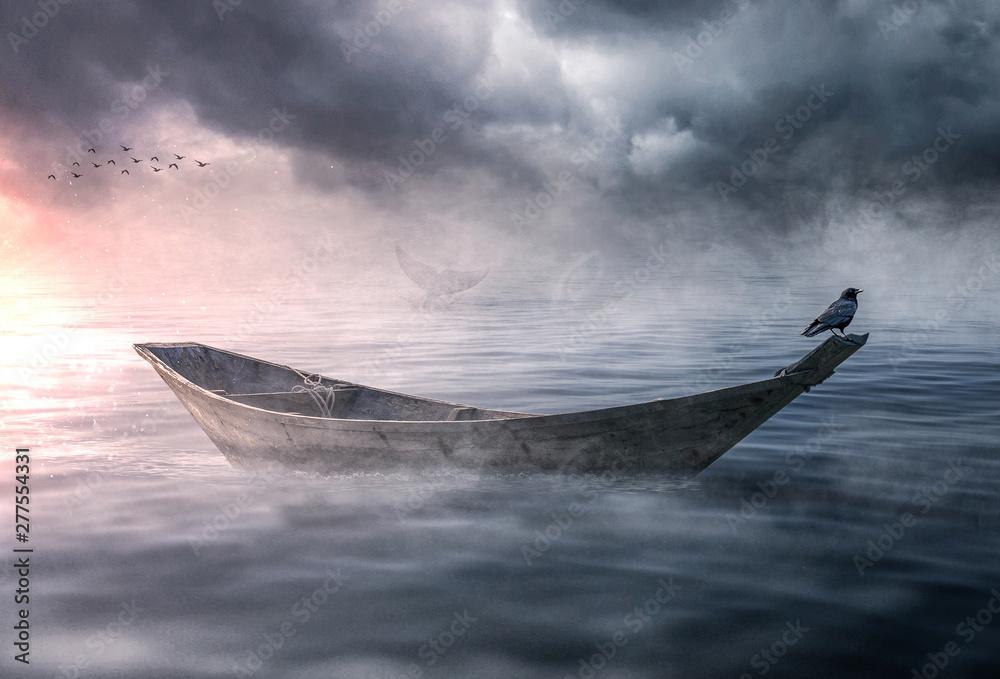 Fototapeta Boat drifting and lost in the ocean