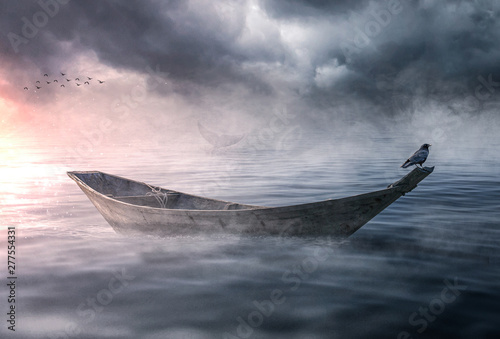 Fotomural Boat drifting and lost in the ocean