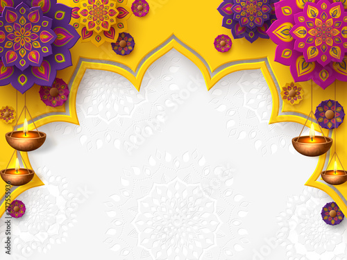 Diwali festival of lights holiday design with paper cut style of Indian Rangoli and hanging diya - oil lamp Canvas-taulu