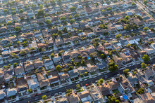 Afternoon Aerial View Of Residential Homes And Streets In The South Bay Area Of Los Angeles County, California.
