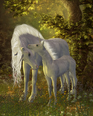 Obraz na płótnie Canvas Unicorn Bonding - A white Unicorn mare shows her affection for her little colt in a magical forest full of legendary creatures.