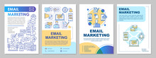 Email Marketing Brochure Template Layout. Mass Mailing, Ads. Flyer, Booklet, Leaflet Print Design With Linear Illustrations. Vector Page Layouts For Magazines, Annual Reports, Advertising Posters