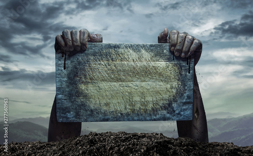 Zombie hand holding old wooden board, Empty space for text or draw Wallpaper Mural