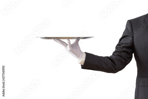 Photo Waiter holding empty silver tray isolated on white background