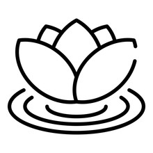Lotus On Water Icon. Outline Lotus On Water Vector Icon For Web Design Isolated On White Background