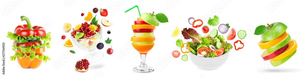 Fototapety, obrazy: Stack of fruits and vegetables. Fruit and vegetable salad