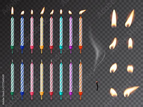 Photo Decorative birthday candles realistic mockup set