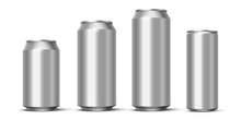 Aluminium Beer, Energy Drink Or Soda Pack Mock Up. Vector Realistic Blank Metallic Cans Isolated On White Background.