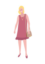 Blonde Woman In Purple Dress With Pendant On Neck Isolated Cartoon Character. Vector Female, Middle Age Lady With Sack, Mother Or Wife In Flat Style