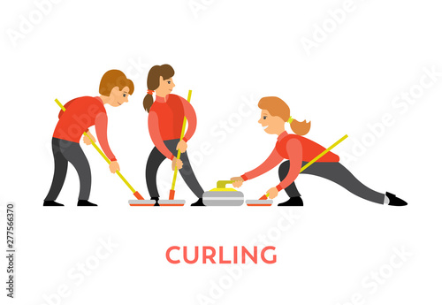 Canvas People playing curling using special bats and stone vector, man and woman opponents isolated