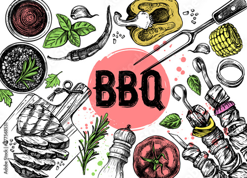 Fotografia Barbecue grill hand drawn food set on white background