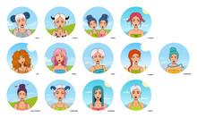 Set Of 13 Zodiac Signs, Symbols. Cartoon Style Girls Avatars.