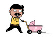 Walking with Baby Stroller - Indian Cartoon Man Father Vector Illustration