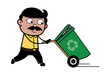 Running with Recycle Bin - Indian Cartoon Man Father Vector Illustration