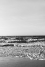 Beautiful Tropical Beach View With Sand And Sea With Waves On Phuket, Thailand. Minimal Composition With Black And White Colors. Summer Concept. Natural Background.