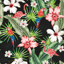 Pink Flamingo, Macaw Parrot, Banana Palm Leaves, Hibiscus, Orchid Flowers, Black Background. Vector Floral Seamless Pattern. Tropical Colorful Illustration. Exotic Birds, Plants. Summer Beach Design