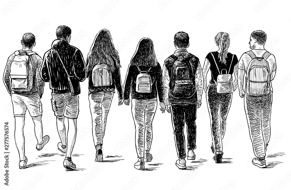 Fototapety, obrazy: Sketch of a group of students friends walking down the street