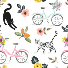Cute Cats, Bikes And Floral Elements, White Background. Vector Seamless Pattern. Pets And Flowers. Nature Print. Digital Illustration With Animals