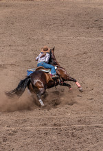 Barrel Racing At A Rodeo, Cowgirl Riding A Dark Colored Horse Around A Barrel. She Has A Pony Tail And Is Wearing A Large Tan Cowboy Hat. The Dirt Is Flying As The Horse Digs In.