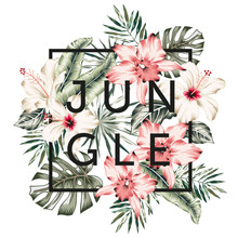 Tropical Design Frame With Orchid, Hibiscus Flowers, Monstera, Banana Palm Leaves, Text Jungle, White Background. T Shirt, Card, Poster Template. Vector Illustration. Summer Beach Floral Print