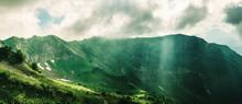 Panoramic View Of Rocky Aibga Mountain Ridge In Krasnaya Polyana, Sochi, Russia