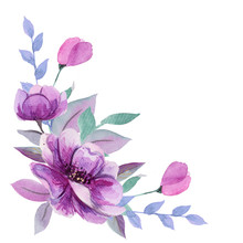 Beautiful Watercolor Composition With Hand Drawn Purple Flowers. Can Be Used For Invitation, Greeting Card, Wedding, Birthday Cards