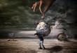 canvas print picture - Konzept Foto, Junge trägt die Erde in sichereit, Generation verantwotlich, zukunft der erde