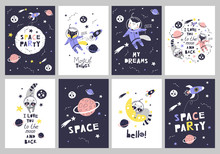 Cute Cards With Space Animals....